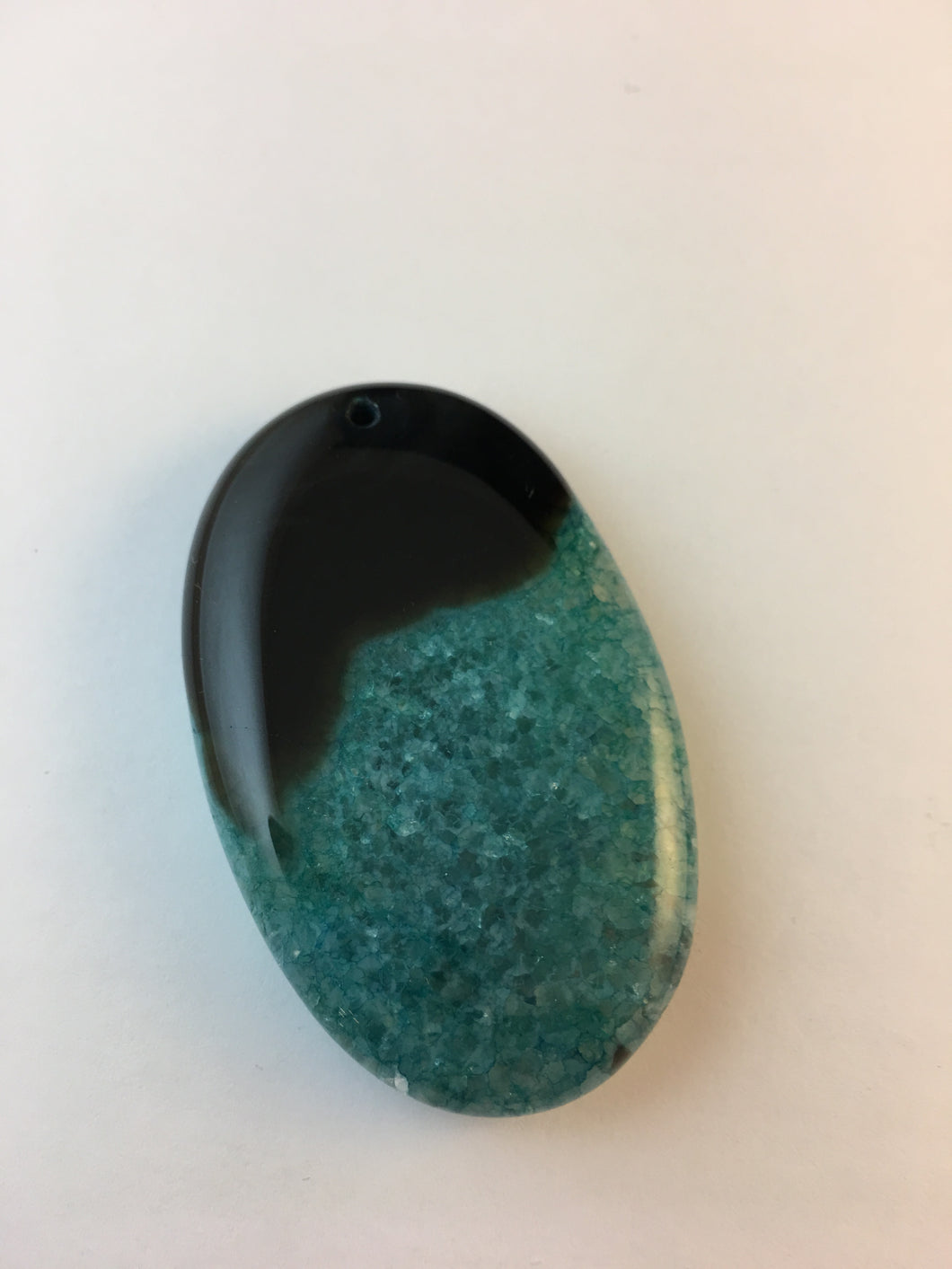 ADDISON - Two Tone Black & Teal Oval Geode Agate pendant