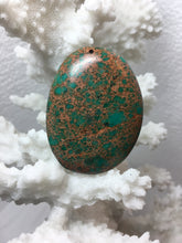 ADELINE- Sea Sediment Jasper Agate Pendant with Aqua Green Pattern