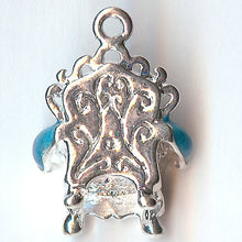 COZY CHAIR- ONE TURQUOISE SILVER PLATED 3D ENAMEL CHARM PENDANT