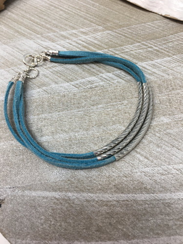 Stackable Turquoise Suede Wrap Bracelet with Silver Accents