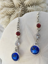 G. FLEMING - Swarovski Rivolis in Red, White and Blue, 3 tier dangle earrings