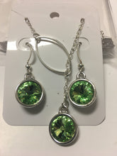 LACY- Swarvoski Crystal Green Peridot with Silver Charm, Lariat Style Necklace