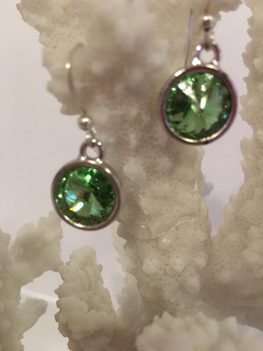 PARISSA - Swarovski Peridot Rivoli  Earrings on Sterling Silver Earwires