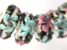 LEKI - European Lampwork Glass HAWAIIAN FLORAL TEAL & PINK Large Hole Bead