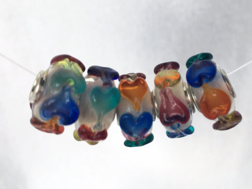 ANGELICA - European Lampwork Glass MULTI COLOR HEARTS Large Hole Bead