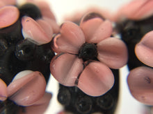 ALAMEA - European Lampwork Glass HAWAIIAN PINK FLOWERS Large Hole Bead