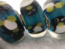PENGUINS - European Lampwork PENGUIN Beads, BLACK & WHITE Quanity 1 Bead