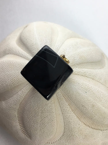 JULIANNA-  Beautiful Cube Black Cube Druzy Geode Agate Pendant