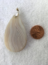 SAGE - Beautiful White Striped Teardrop Agate Pendant