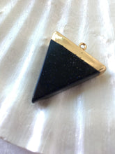 TRINITY- Speckled Black Onyx Triangle Agate, Gold Acent Pendant, Onyx Gem