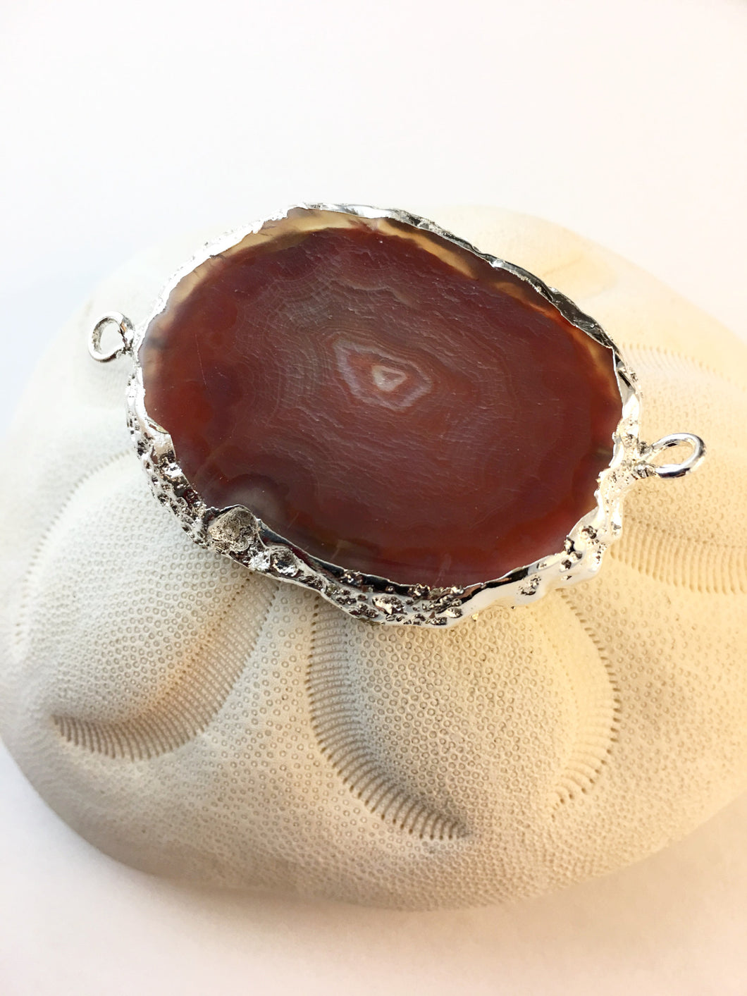 VANESSA -Silver Plated Red Onyx Agate Druzy Slice Connector Double Bails
