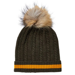Stripe Cable Fur Hat