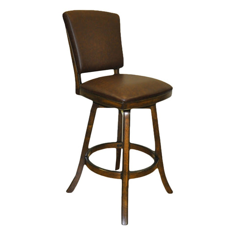 Imperial Bar Stool with Back in Antique Walnut