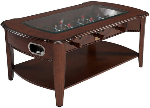 Berner Coffee Foosball Table with Tempered Glass - Antique Walnut