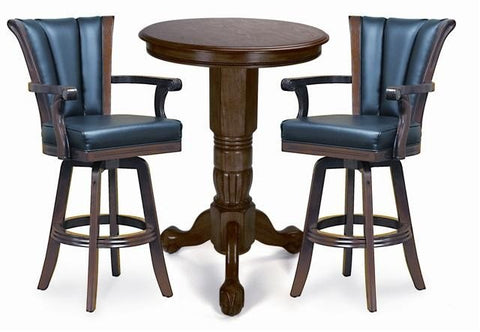 Berner Billiards Pedestal Pub Table Set in Antique Walnut