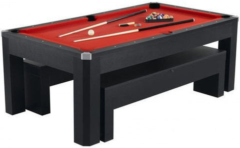 Carmelli Park Avenue 7' Pool Table Set With Benches & Top