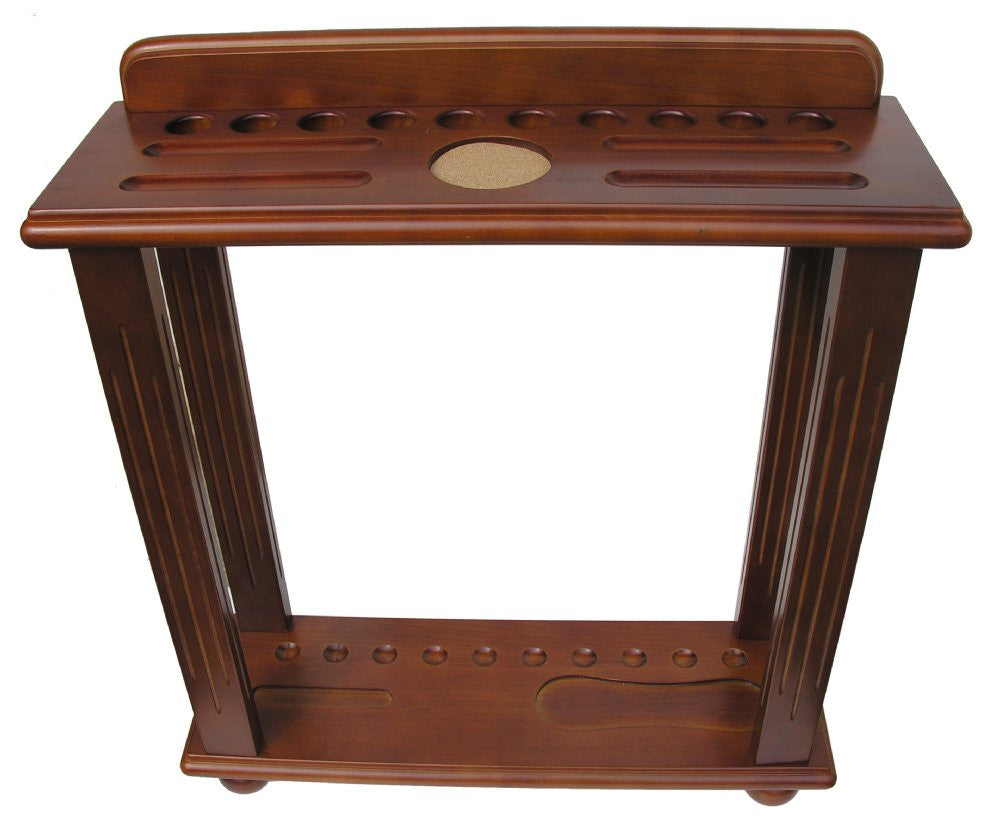 Berner Billiards 10 Cue Floor Rack in Walnut