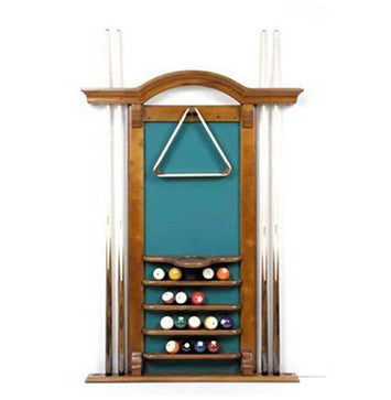 Berner Billiards 6 Cue Arch Top Wall Rack in Honey