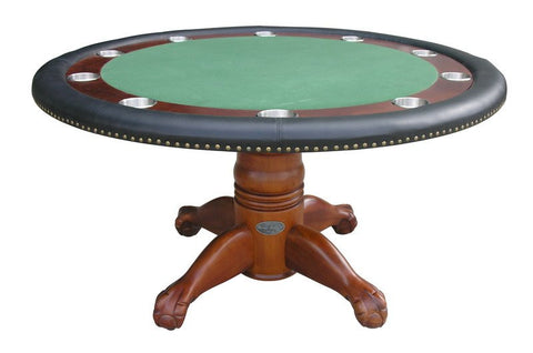 "Berner Billiards 60"" Round Poker Multi Table w/ Optional Dining Top in Antique Walnut"