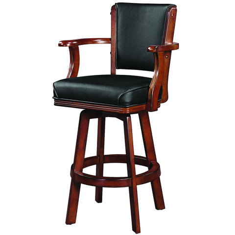 RAM Game Room Swivel Barstool with Arms - Chestnut