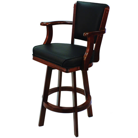 RAM Game Room Swivel Barstool with Arms - English Tudor