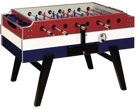 Coperto Foosball Table in Red, White & Blue (Coin-Operated) by Garlando is available at Foosball Planet.
