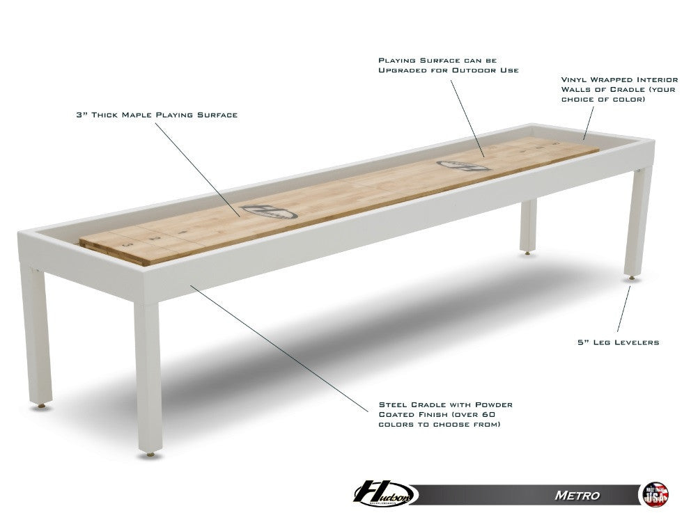 Hudson Metro Shuffleboard 9'-22' with Custom Finish Options