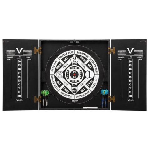 Viper Hideaway Dartboard Cabinet w/ Reversible Traditional & Baseball Dartboard