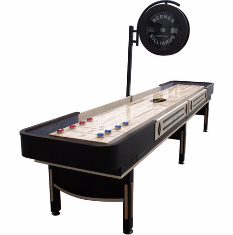 "Berner ""The Pro"" 12' Shuffleboard Table w/Elec. Scoring in Espresso"
