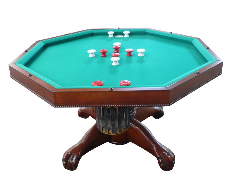 "Berner Billiards Multi 3 in 1 Table - Octagon 48"" w/Bumper Pool with SLATE bed in Antique Walnut"