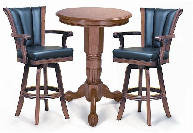 Berner Billiards Pedestal Pub Table Set in Oak