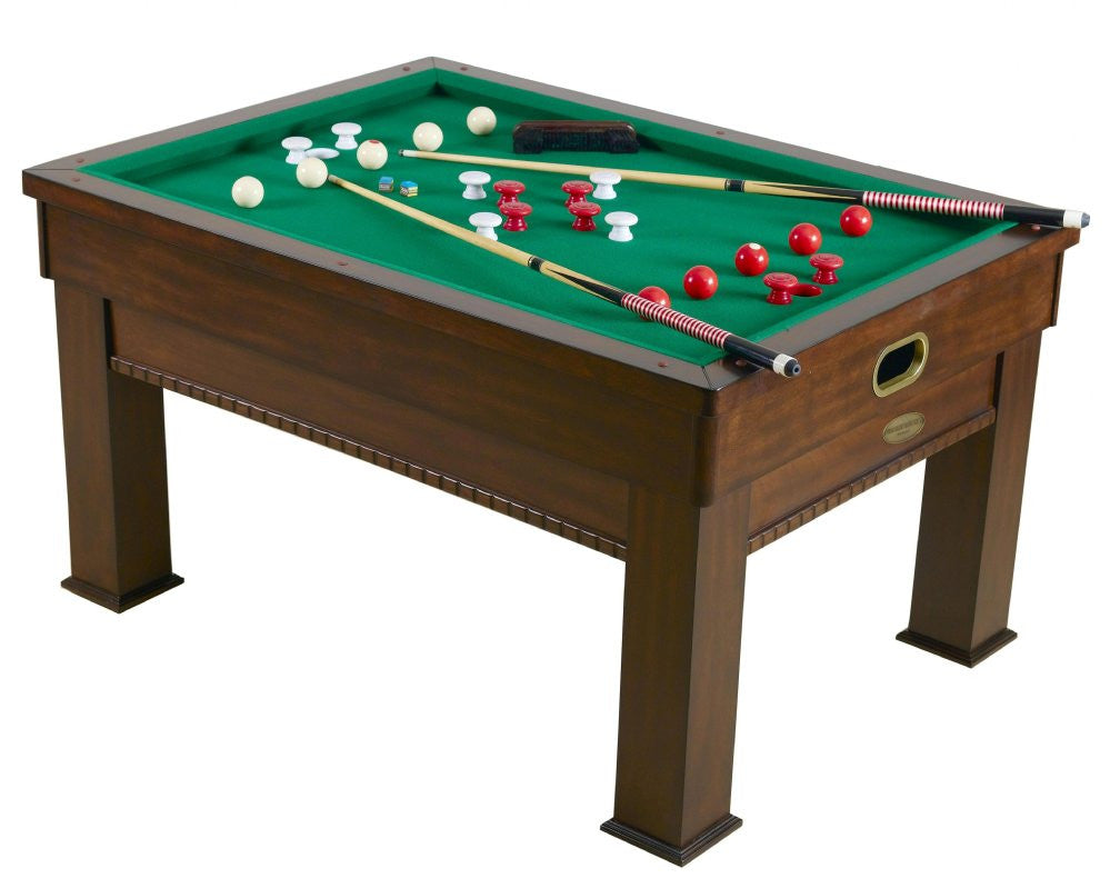 Berner Billiards Multi 3-in-1 Rectangular SLATE Bumper Pool, Card & Dining Table in Walnut