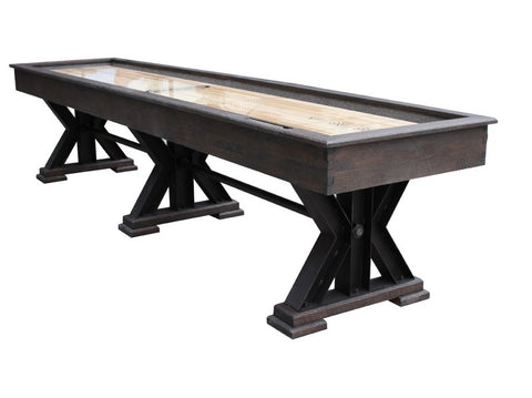 "Berner 12' ""The Weathered"" Shuffleboard Table in Black Oak"