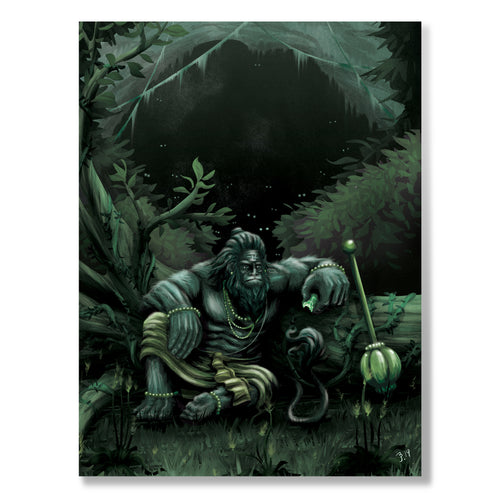 Hanuman in the Jungle, Matte Metal Print - The Jai Jais