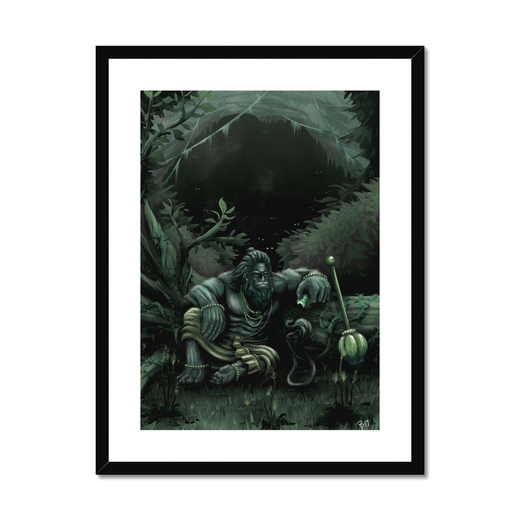 Hanuman Guarding Cave Framed & Mounted Print - The Jai Jais