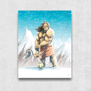 Hanuman on the Mountain, Matte Metal Print - The Jai Jais