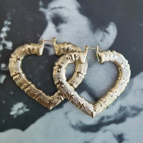 Heart Shaped Bamboo Hoops 70mm - ilovesphinx