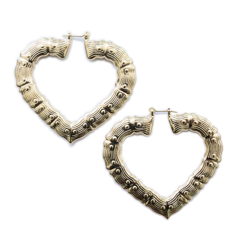 6mm / 70mm Bamboo Heart Earrings - ilovesphinx