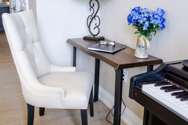 Pemberton Sofa Table used as a writing desk and White Accent Chair from St. Jacobs Furnishings.
