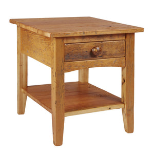 Barn Board End Table with Shelf