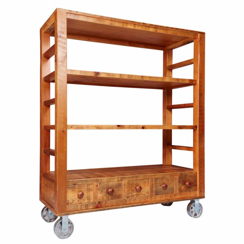 Barn Board Factory Floor Storage Cart - 5 Drawer
