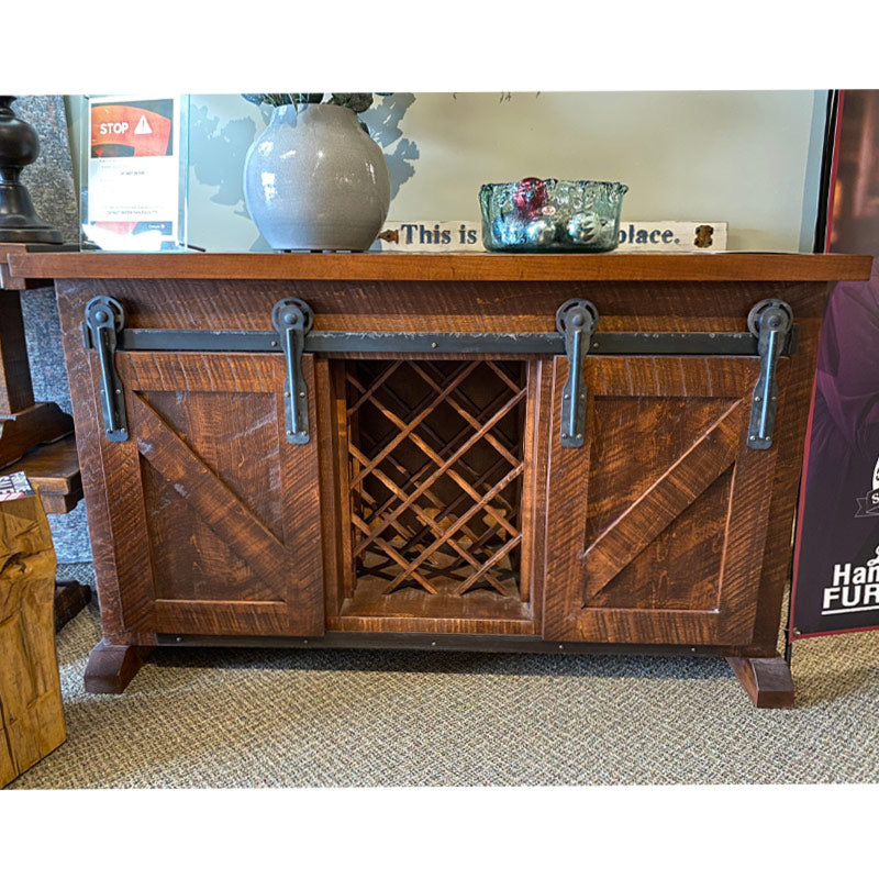 Custom Rustic Slim Sideboard w/ Wine Rack
