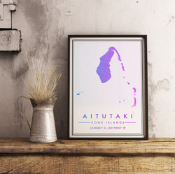 Cook islands Map Print. Modern Style.