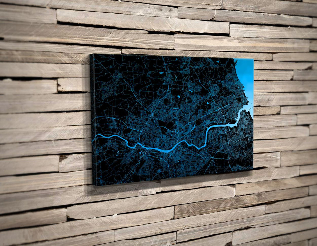 Custom Canvas Print. Horizontal Minimal Style. Personalised Map Print.
