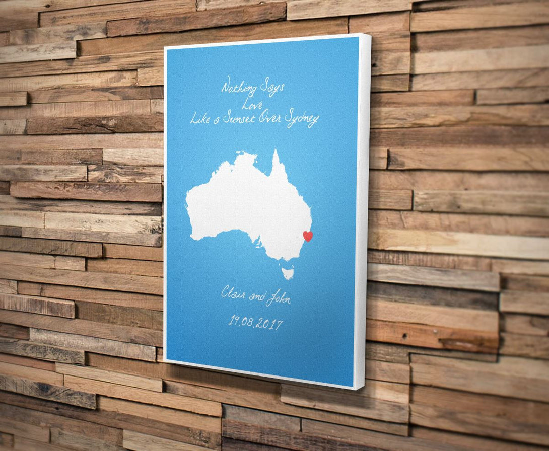 Custom Map Canvas Print. Heart Style. Personalised Map Print. Wedding Gift