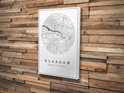 Canvas Print. Circle Style. Personalised Map Print.