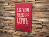 Canvas Print. All You Need Is Love Style. Personalised Map Print. Wedding Gift. Valentines Gift.