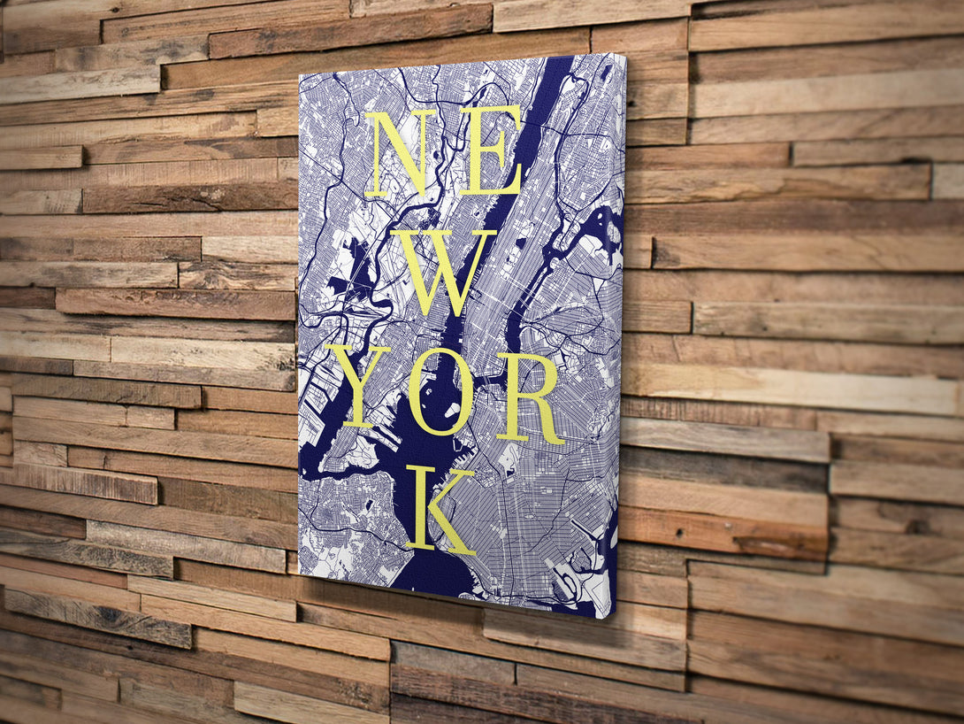 Canvas Print. Modern Typographic Style. Personalised Custom Map Print.
