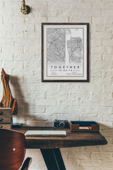 Custom Map Art. Dual Location Style. Personalised Map Print. Wedding Gift.