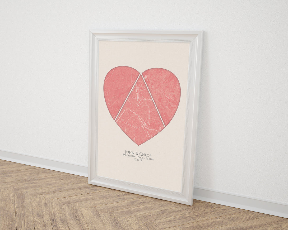 Custom Map Art. Triple Location Heart Style. Personalised Map Print ...
